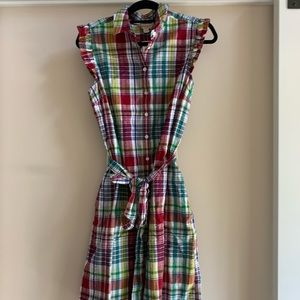 Brooks Brothers Red Fleece Madras Dress Size 10